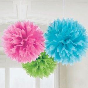 Pom pon decoracion 3 colores surtidos