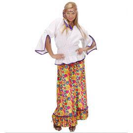 Disfraz hippie falda mujer adulto