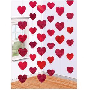 Decoracion colgante corazones rojos