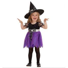 Disfraz bruja violeta 1-2 y 2-3 años
