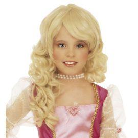Peluca rubia glamour niña