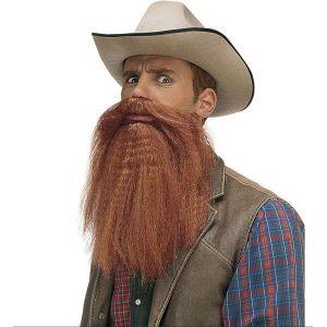 Barba larga con bigote castaño