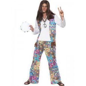 Disfraz hippie hombre flecos