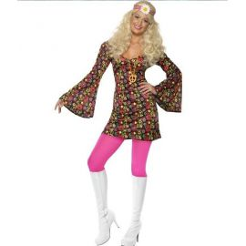 Disfraz hippie peace mujer