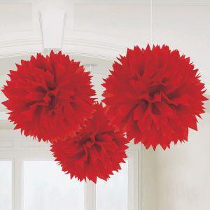 Pom pom decoracion rojo 3 unidades