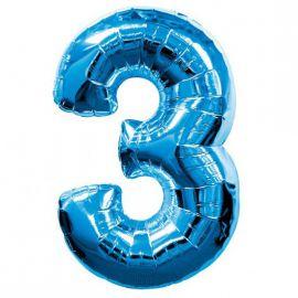 Globo helio numero 3 azul