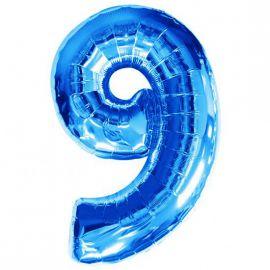 Globo helio numero 9 azul