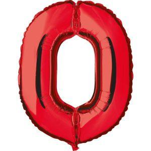 Globo helio numero 0 rojo