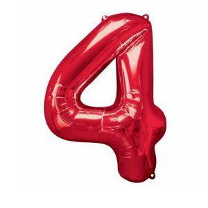 Globo helio numero 4 rojo
