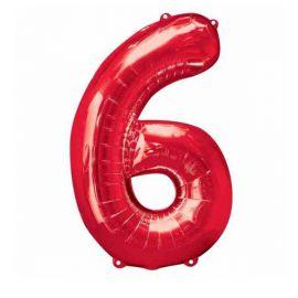 Globo helio numero 6 rojo