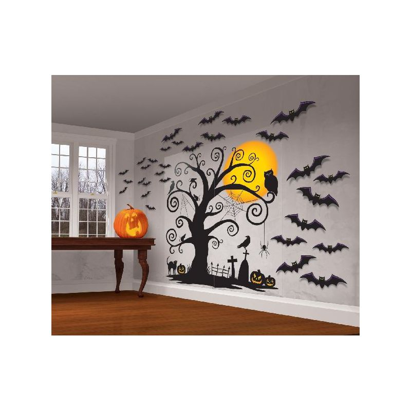 Decoracion pared arbol y murcielagos for Decoration murale halloween