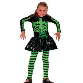 Disfraz ni?a esqueleto medias