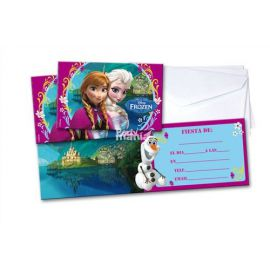 Invitaciones frozen con sobre 6 und