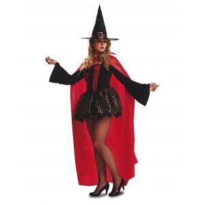 Disfraz bruja roja con capa