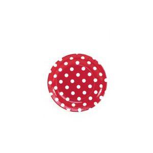 Platos rojos lunares blancos 18cm pack 8