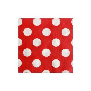 Servilletas rojas puntos blancos 16 uns