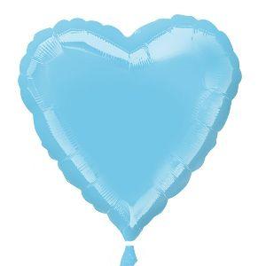 Globo helio corazon azul pastel iridisce