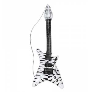 Guitarra inflable negra y blanca roquera
