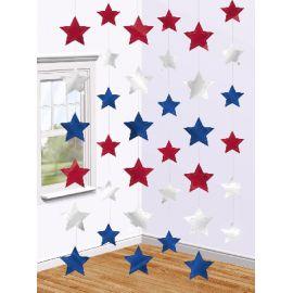 Colgantes estrellas roja azul y plata 6