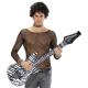 Guitarra hinchable blanca y negra 92cm