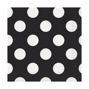 Servilletas negras puntos blancos 16 und