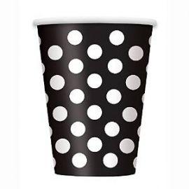 Vasos negros puntos blancos 6 und