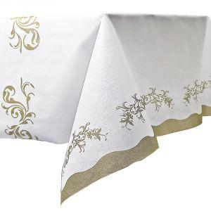 Mantel blanco detalles dorados 140x240