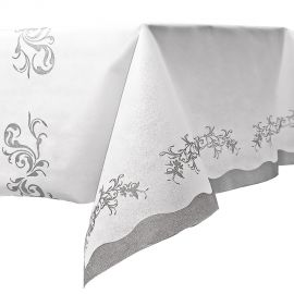 Mantel blanco detalles plata 140x240
