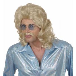 Peluca hombre larga rubia con bigote