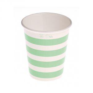 Vasos lineas verde menta 10 und
