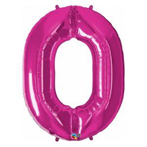 Globo helio numero 0 rosa