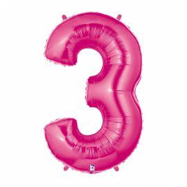 Globo helio numero 3 rosa