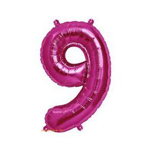 Globo helio numero 9 rosa