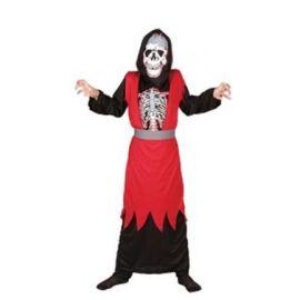 Disfraz esqueleto rojo infantil
