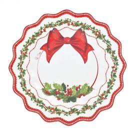 Platos lazo rojo navidad 8 und