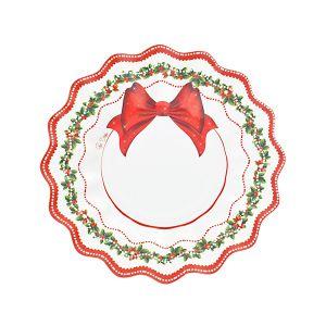 Platos postre lazo rojo navidad 8 und