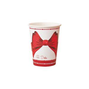 Vasos lazo rojo navidad 8 und