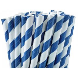 Pajitas lineas azules y blancas pack 10