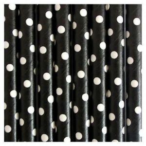 Pajitas negra puntos blancos papel 10 un