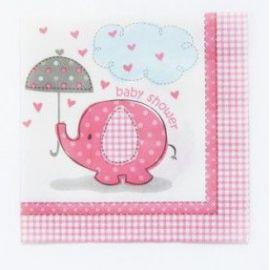 Servilletas elefante rosa baby 16 und