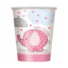 Vasos elefante rosa baby 8und