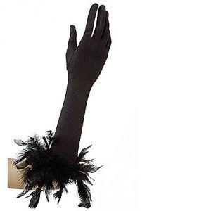 Guantes negros largos con plumas