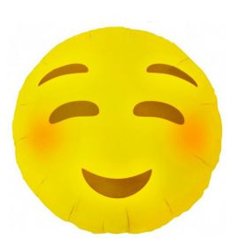 Globo helio emoticono ruborizado