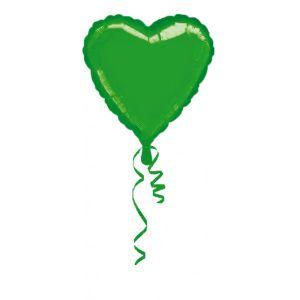 Globo helio corazón verde metal