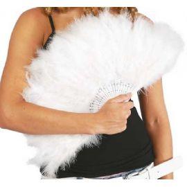 Abanico plumas blancas
