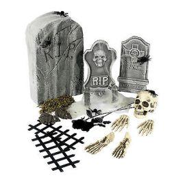 Kit lápida calaveras y huesos 24 piezas