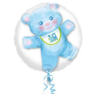 Globo helio osito azul burbuja