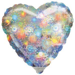 Globo helio corazón fuegos artificiales