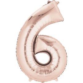 Globo helio número 6 rosa dorado