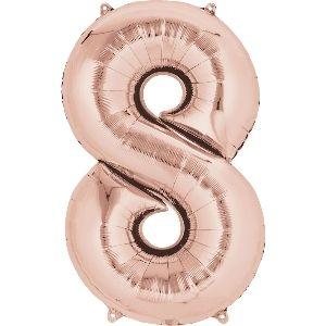 Globo helio número 8 rosa dorado